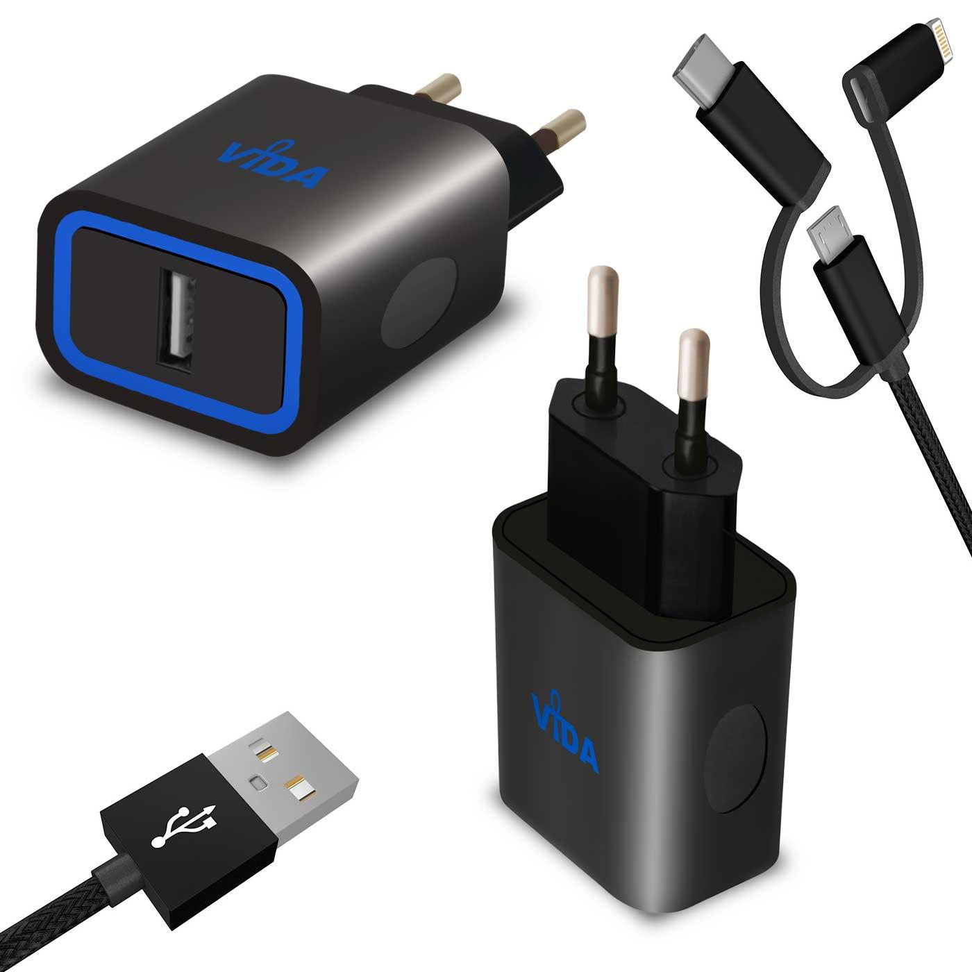 Caricabatteria-da-Muro-a-Parete-Super-Veloce-Caricatore-USB-2-4A-Per-Cellulare miniatura 5
