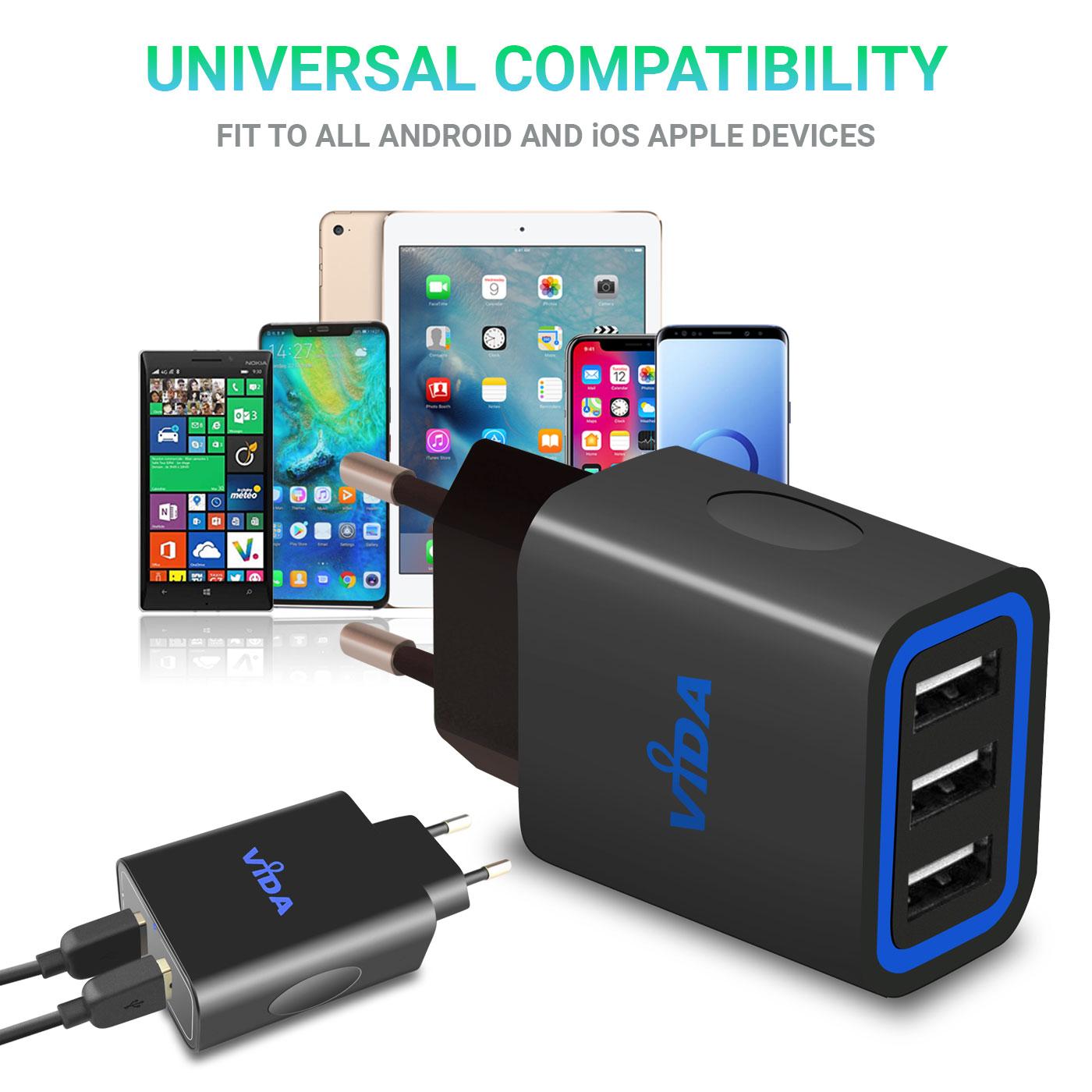 Multi-USB-Porte-Caricabatterie-a-Parete-Carica-da-Muro-Veloce-3-1A-Per-Cellulare miniatura 3