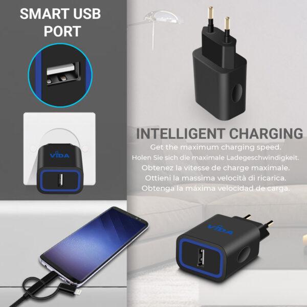 Vida IT VS1 Fast 1-Port USB Wall Charger 5V 2.4A Mains Adapter (EU Plug)