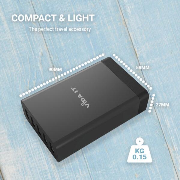Vida IT VP5 USB 5 Ports Desktop Charging Hub 40W Black (UK or EU Plug)