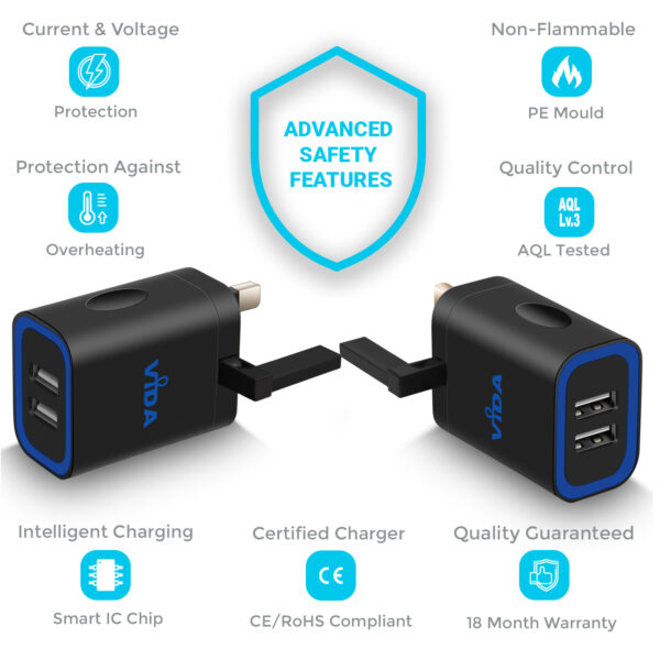Vida IT VS1 Fast 2-Port USB Wall Charger 5V 2.4A Mains Adapter (UK Plug)