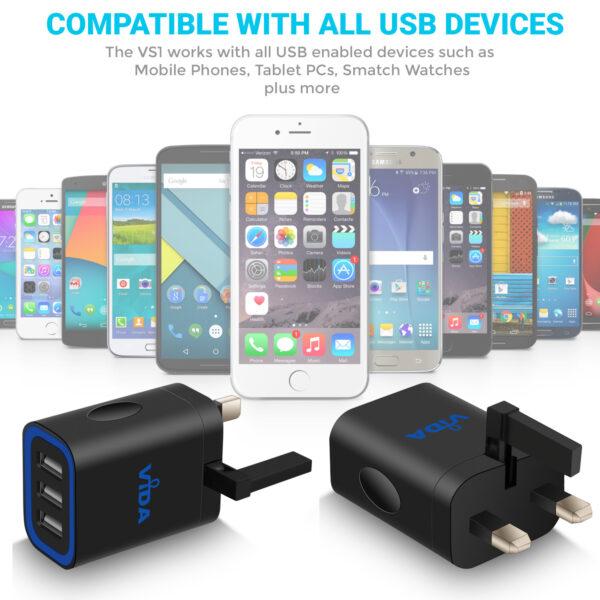 Vida IT VS1 Fast 3-Port USB Wall Charger 5V 3.1A Mains Adapter (UK Plug)