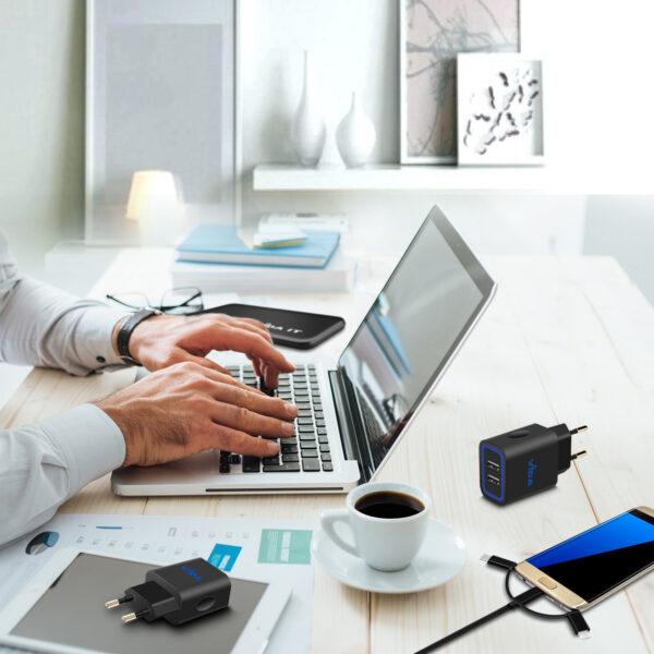 Vida IT VS1 Fast 2-Port USB Wall Charger 5V 2.4A Mains Adapter (EU Plug)