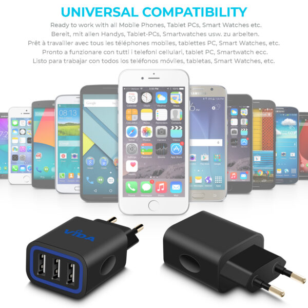 Vida IT VS1 Fast 3-Port USB Wall Charger 5V 3.1A Mains Adapter (EU Plug)