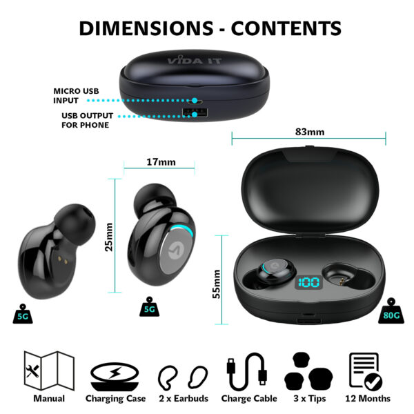 Vida IT vBuds Wireless Earbuds with Charging Case