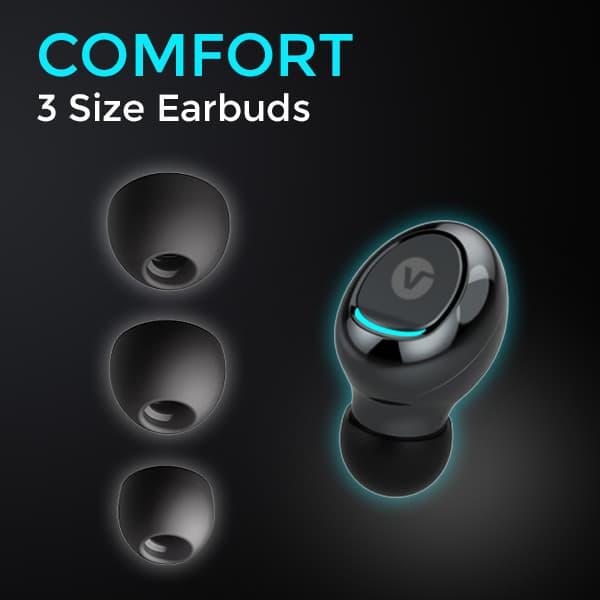 vBuds wireless earphones 3 size earbuds