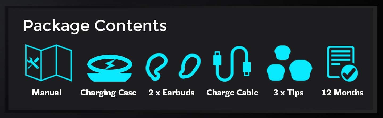 vBuds Cordless Earphones Package Contents
