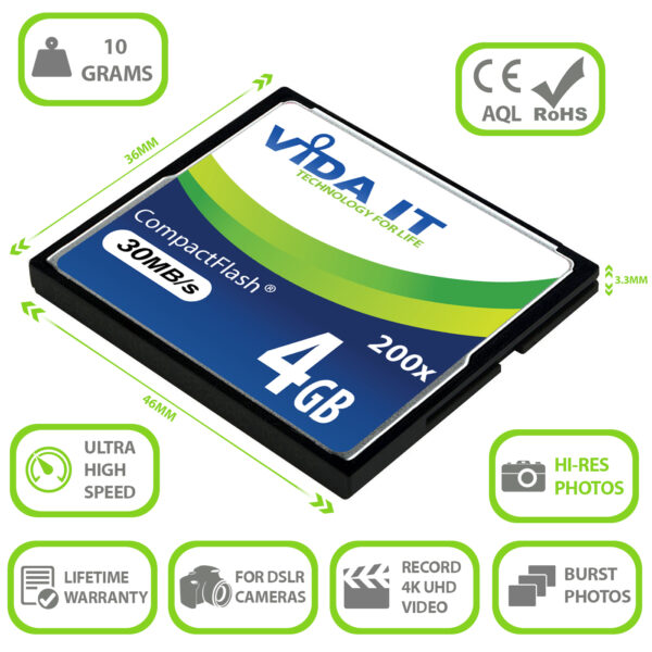 Vida IT 4GB CF Compact Flash Memory Card 200X Speed 30MB/s