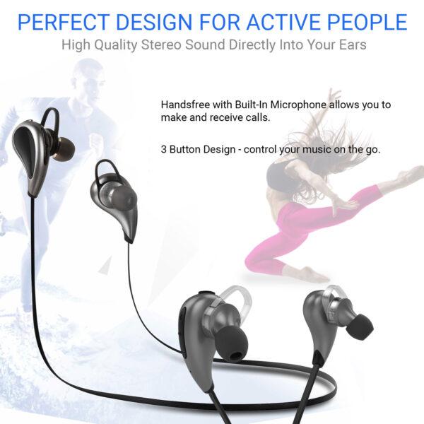Vida IT V8 Stereo Sports Bluetooth 4.0 Earphones Headset (Black/Silver)